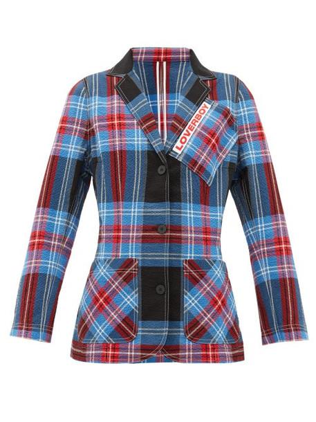Charles Jeffrey Loverboy - Tartan-checked Cotton-blend Seersucker Blazer - Womens - Blue Multi