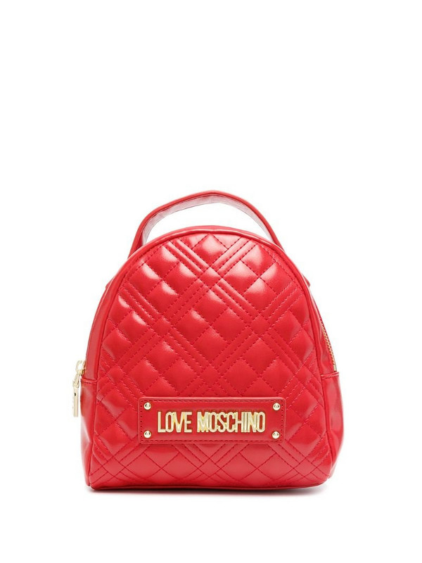 Love Moschino logo-plaque quilted backpack in red