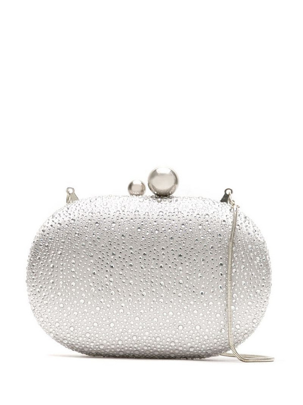 Isla crystal-embellished clutch in silver