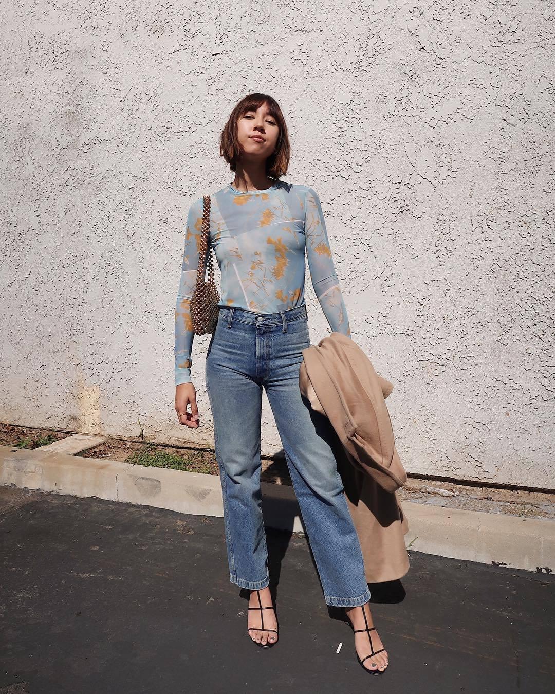 top mesh blue top long sleeves straight jeans high waisted jeans black sandals camel coat shoulder bag