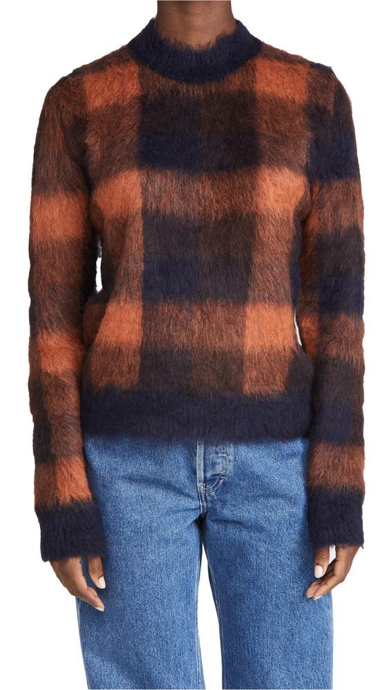 Acne Studios Kanya Check Sweater in navy / orange