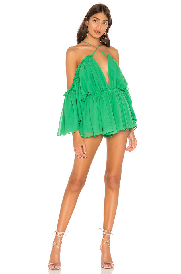 Michael Costello x REVOLVE Austen Romper in green