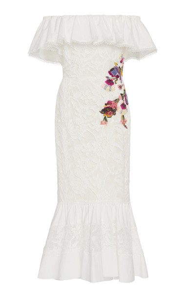 Marchesa Embroidered Cotton Fit And Flare Dress Size: 12 in white
