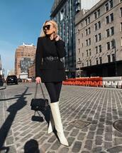 shoes,white boots,leather boots,knee high boots,jimmy choo,heel boots,black skinny jeans,black bag,black blazer,black belt,black top