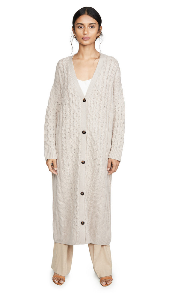Sablyn Cable Cashmere Cardigan in taupe