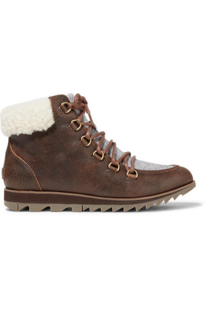 Sorel - Harlow Lace Cozy Shearling And Felt-trimmed Waterproof Leather Ankle Boots - Brown