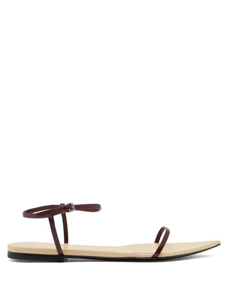 Jil Sander - Point Toe Leather Sandals - Womens - Dark Brown