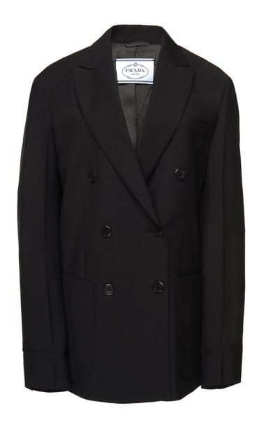 Prada Double-Breasted Mohair-Crepe Blazer in black