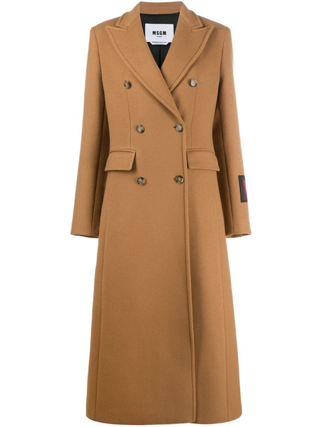 MSGM double-breasted wool coat in brown