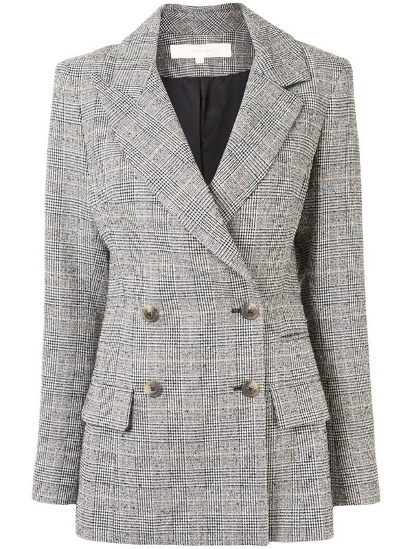 By Any Other Name double breasted check blazer in black