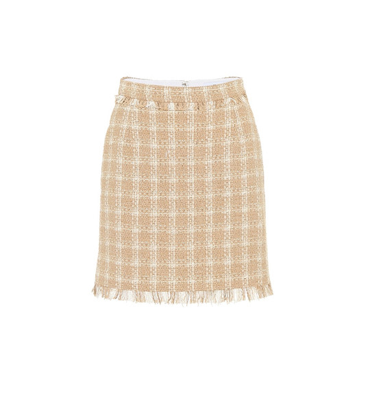 MSGM Cotton-blend tweed miniskirt in beige