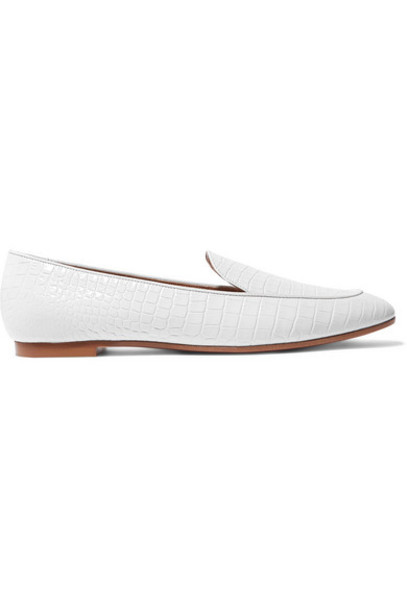 Aquazzura - Purist Croc-effect Leather Loafers - White