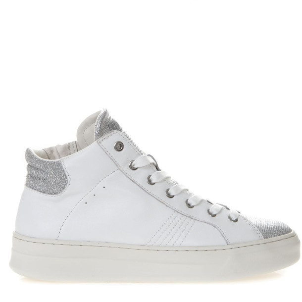 Crime london High White And Silver Leather Sneakers
