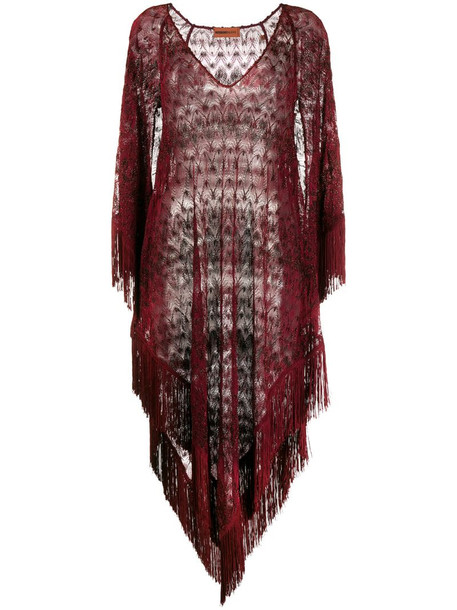 Missoni Mare sheer fringed beach dress in red