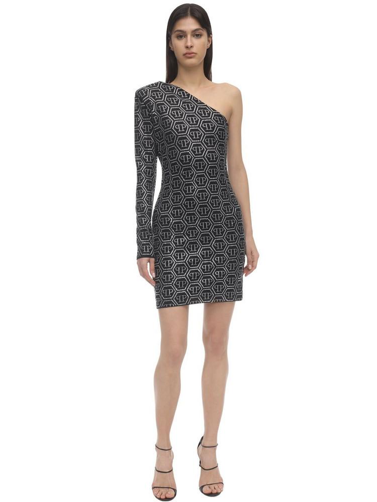 PHILIPP PLEIN Crystal Embellished Jersey Mini Dress in black