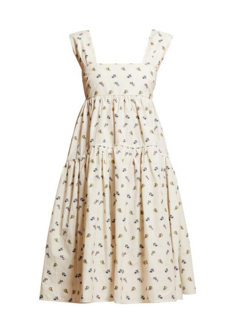 Cecilie Bahnsen - Rue Tiered Floral Print Dress - Womens - Ivory