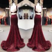 dress,red dress,beaded,long