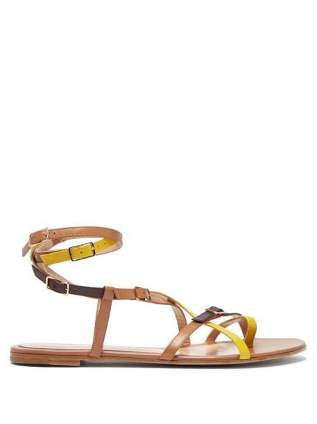 Gianvito Rossi - Cassandra Multi Strap Leather Sandals - Womens - Yellow Multi