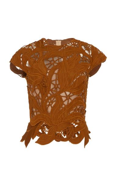 Oscar de la Renta Moiré Guipure Lace Top Size: 0 in brown