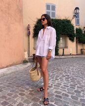 top,white shirt,black sandals,loewe bag,denim shorts