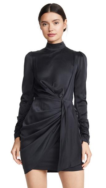 Zimmermann Espionage Silk Drape Dress in black