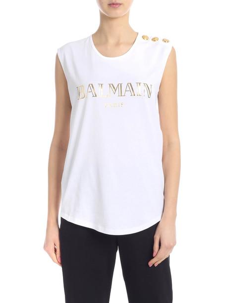 Balmain Logo Cotton Top in bianco