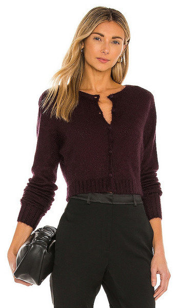 DANIELLE GUIZIO Mohair Ribbed Cardigan in Wine in plum