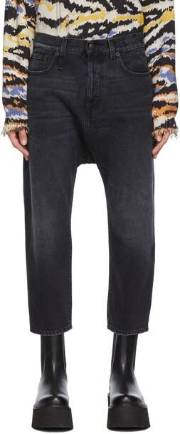 R13 Black Tailored Drop Jeans