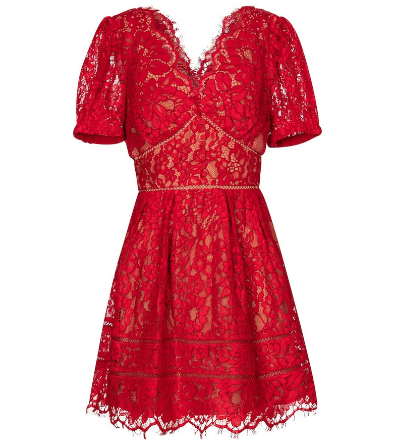 Self-Portrait Floral lace minidress in red
