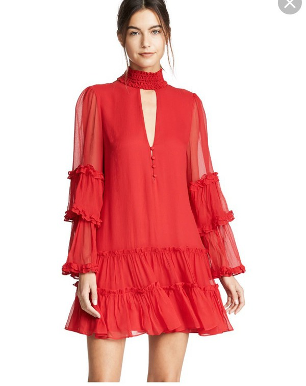 dress red minidress ruffle trim sleevee