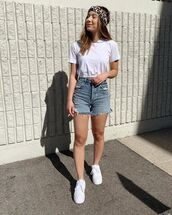 top,white top,crop tops,denim,denim shirt,denim shorts,shoes