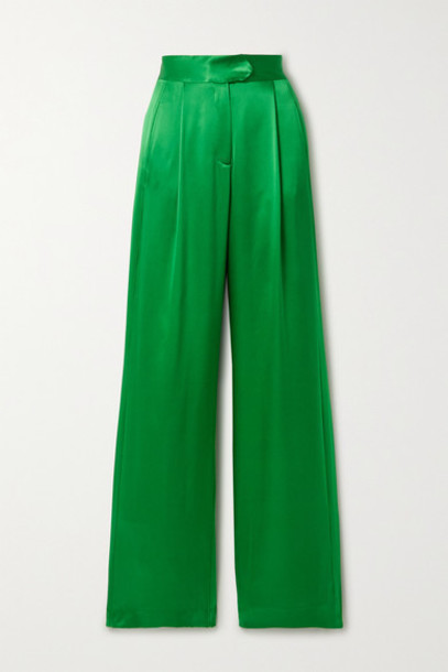 Michelle Mason - Pleated Silk-satin Wide-leg Pants - Green