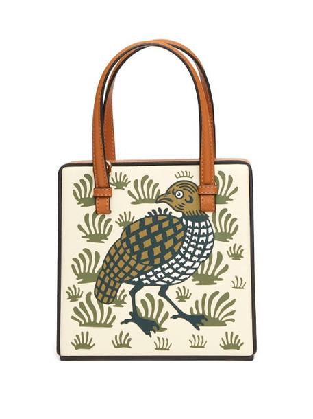 Loewe - Partridge-print Leather Cross-body Bag - Womens - White Multi