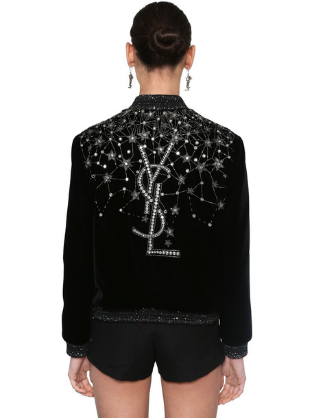 SAINT LAURENT Embroidered Velvet Bomber Jacket in black / silver