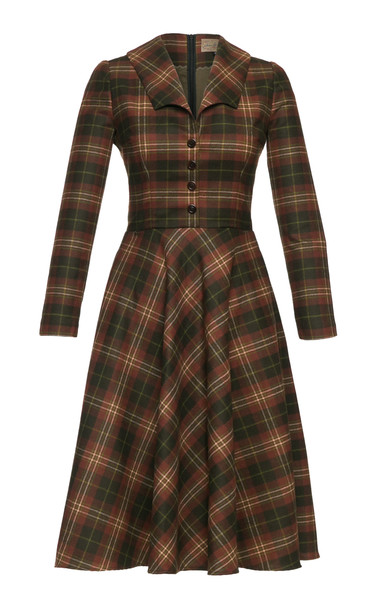 Lena Hoschek Highlander Plaid Wool-Twill Dress Size: M