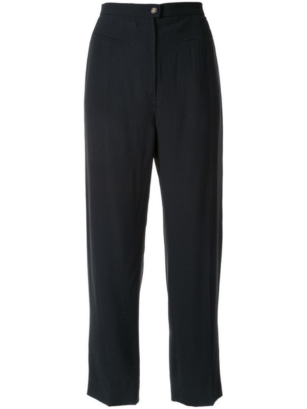Chanel Pre-Owned cropped tailored trousers in blue