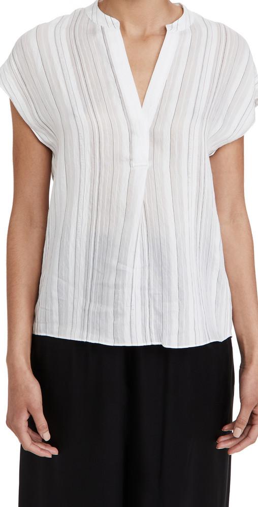 Vince Drapey Stripe Band Collar Popover Shirt in black / white