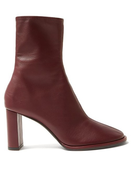 The Row - Tea Time Leather Boots - Womens - Burgundy