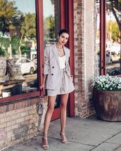 jacket,blazer,double breasted,High waisted shorts,stripes,white sandals,bag,white top
