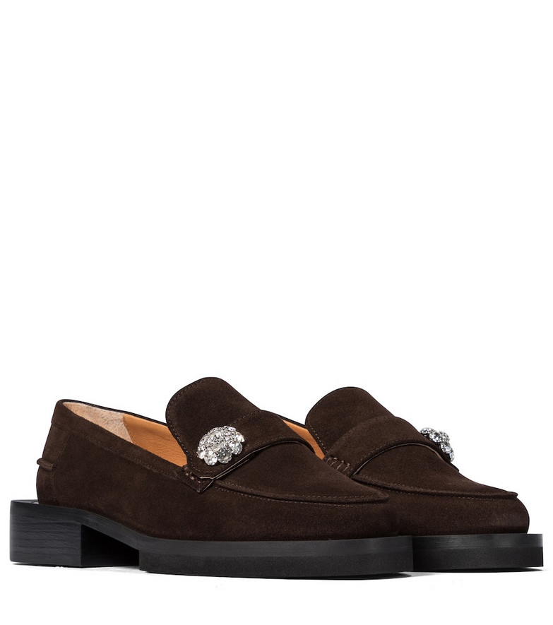 Ganni Jewel suede loafers in brown