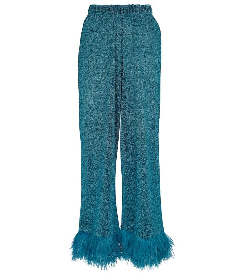 Oséree Lumière Plumage high-rise pants in blue