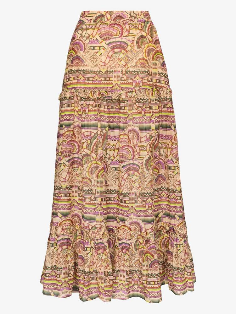 Chufy Nina printed cotton and silk maxi skirt in neutrals