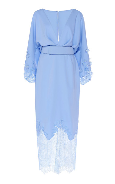 Costarellos Crepe Plunging Neckline Blouson Dress With French Lace Hem in blue