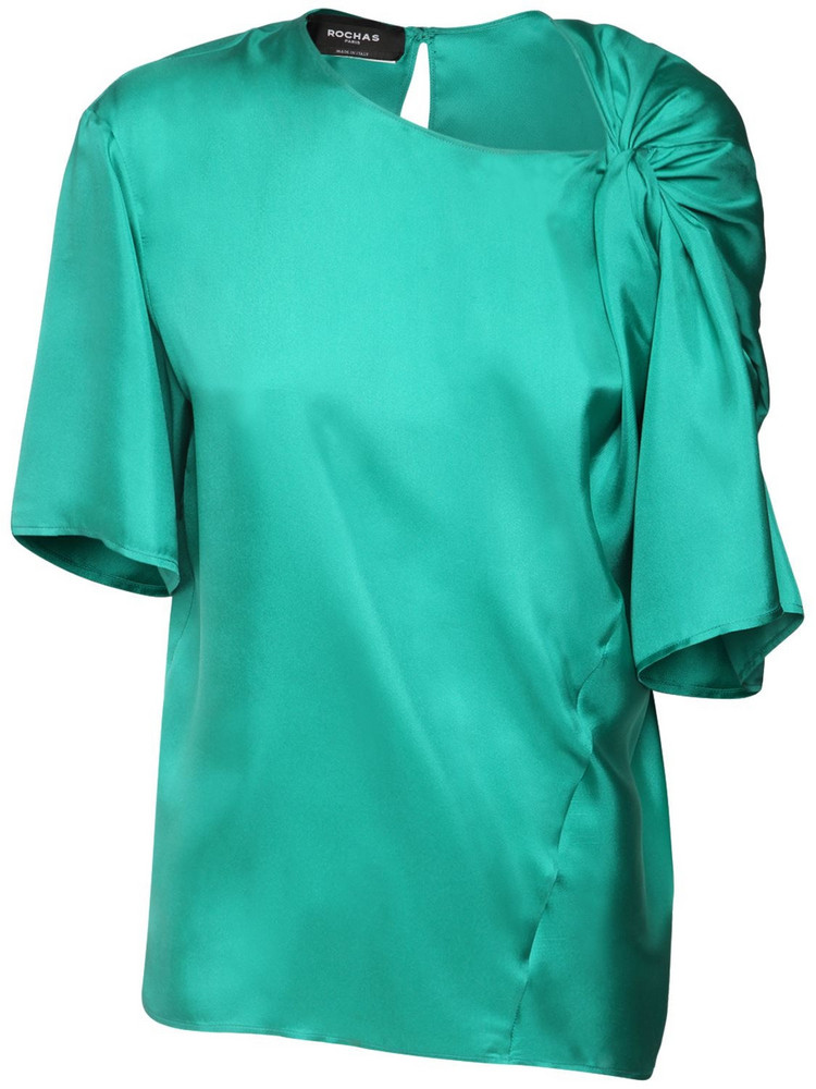 ROCHAS Draped Silk Twill Top in emerald