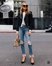 jeans,ripped jeans,cropped jeans,high waisted jeans,pumps,shoulder bag,black leather jacket,white sweater