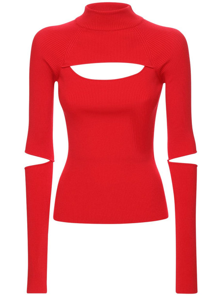 KOCHE' Cutout Ribbed Knit Turtleneck Sweater in red