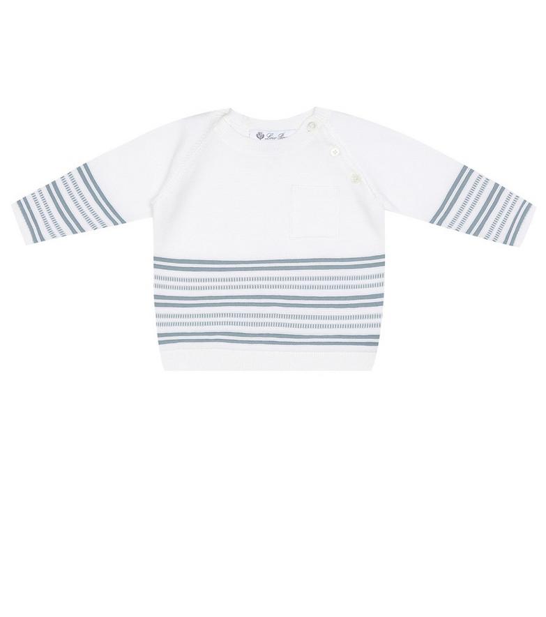 Loro Piana Kids Baby striped cotton sweater in white