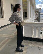 sweater,turtleneck sweater,cable knit,zara,black boots,black pants,crossbody bag