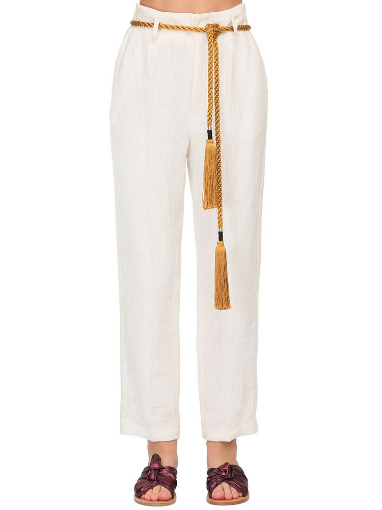 FORTE FORTE High Waist Linen Herringbone Pants in white