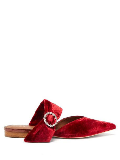 Malone Souliers - Maite Crystal Buckle Velvet Mules - Womens - Red